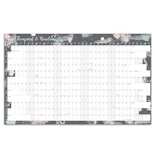 Calendario Planificador de Pared 2019 de Boxclever Press. Formato Anual Lineal. Organizador para el Hogar o la Oficina. Incluye desde Enero 2019 a Diciembre 2019. Sin laminar.