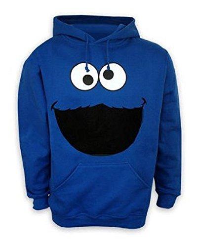 Sesamstrasse Kapuzenpulli Krümelmonster Gesicht Cookie Monster Hoodie in Größe XXL - (Cookie Monster Hoodie)