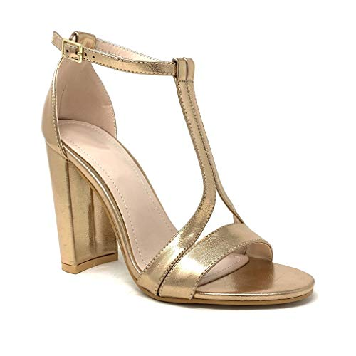 Gold Heels (Angkorly - Damen Schuhe Sandalen Pumpe - glamourös - Abend - High Heels - Riemen - metallisch Blockabsatz high Heel 10.5 cm - Rosa Gold 369-35 T 38)