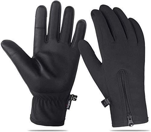 Unigear Touchscreen Handschuhe, Anti-Rutsch Full Finger Fahrradhandschuhe Wasserdicht Winddicht Laufhandschuhe Atmungsaktiv Geeignet für Winter Herbst Frühling (L)