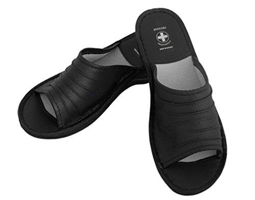 Véritable en cuir pour femmes, Tongs Insole. Chaussons orthopédiques avec différentes couleurs Noir - noir