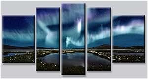 Startonight Ensemble de toiles imprimées phosphorescentes 5parties Motif aurore boréale