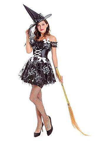 Honeystore Hexenkleid & Hut Hexenkostüm Damen Kostüm Helloween Karneval Fasching Hexe Schwarz One (Frauen-power Ranger Kostüm)