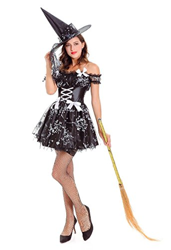 Honeystore Hexenkleid & Hut Hexenkostüm Damen Kostüm Helloween Karneval Fasching Hexe Schwarz One (League Of Cosplay Kostüme Legends Online)