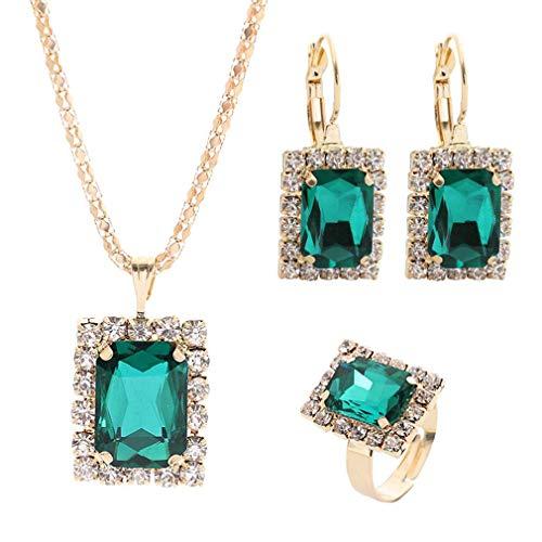 Carry stone Schmuck Set Imitation Kristall Kristall Halskette Ohrringe Ring Set Vintage Anhänger Schmuck DREI-teiliges Set Geschenke für Frauen, grün nützlich und praktisch