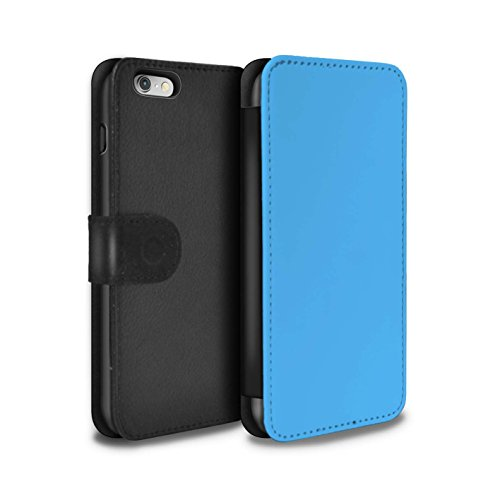 STUFF4 PU-Leder Hülle/Case/Tasche/Cover für Apple iPhone 7 Plus / Türkis Muster / Farben Kollektion Blau