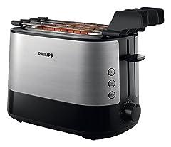 Idea Regalo - Philips HD2639/90 Viva Collection Tostapane con Lati in Metallo e Pinza per Sandwich, 730 W