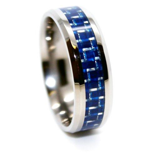 8mm Lightweight Titanium & Blue Carbon Fiber Inlay Wedding Band Sizes H - Z