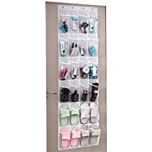 Umi Over the Bathroom Door Metal Hooks Hanger with 24 Transparent Pockets Hanging Storage Organiser