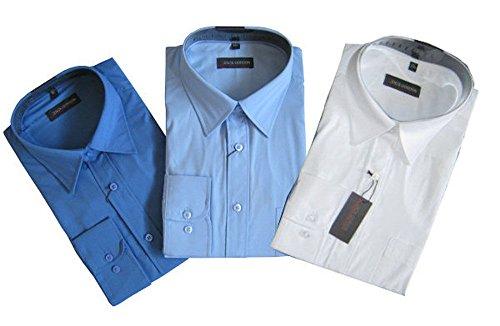 Jack Gorden 3er Pack Hemden Langarm 7216 auch Übergrößen Blau/Hellblau/Weiß