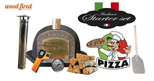 Black Deluxe Corner Extra Wood Fired Pizza Oven Starter Kit, Grey Arch, Grey Door, 80cm x 80cm