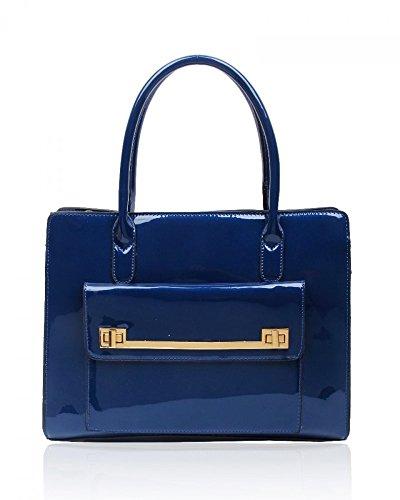 LeahWard® Damen Mode Essener Vorderseite Tasche greifen Tote Handtasche Modisch Qualität Bote Schultertaschen CWS00366 OXFORD blau PATENT