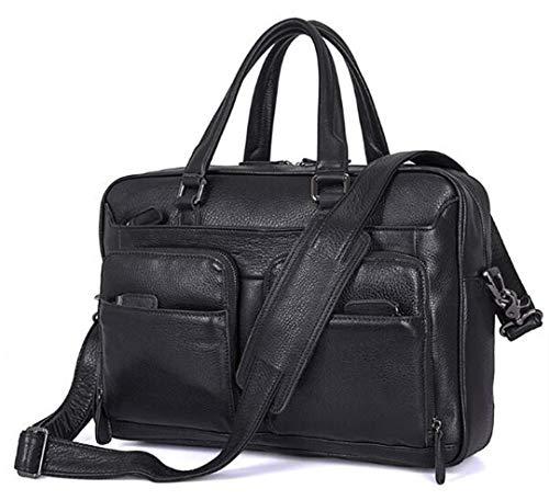 - Grain-leder-laptop Portfolio (Portfolio Original Full Grain Leather Herren Aktentaschen Luxury Business Männertasche für 15-Zoll-Laptop in Schwarz Black)