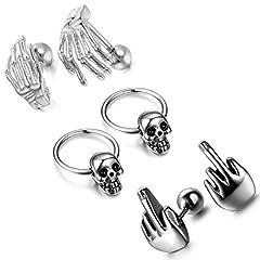 Idea Regalo - Cupimatch 3paia orecchini da uomo in acciaio INOX gotico punk rock dito medio cranio artiglio Endless orecchini a cerchio