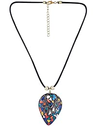 Arittra Alloy Tribal Design Multy Colour Brass Pendal With Black Dorri Choker Necklace In Antique Finish For Girls...