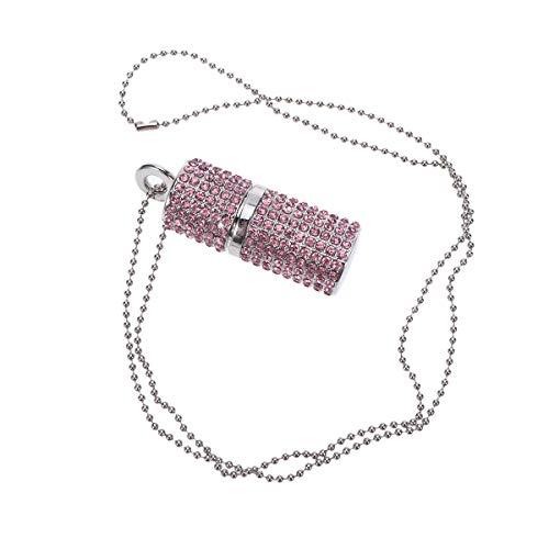 HEMOBLLO Nette kreative USB-Stick Strass Glitter Lippenstift Form 64GB USB-Stick Halskette Laufwerk Geschenk (Pink)