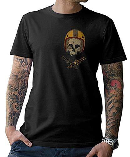 Harley Davidson Motorrad T-shirt (NG articlezz T-Shirt Shirt Biker Skull Oldschool Helmet - Front- und Rückenprint Oldschool)