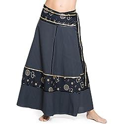 ufash Falda cruzada - falda maxi de la India, con lazos, Om gris