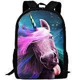best& Pink Unicorn Head Canvas Laptop Backpack Cute School College Shoulder Bag for Women Men