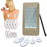 JJOBS Electroestimulador Tens,Tens EMS Masajeador Recargable con 12 Modos,2 Canales,8 Electrodos Autoadhesivos