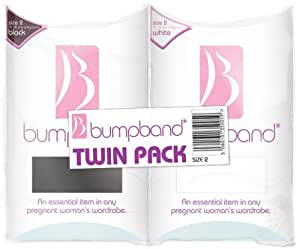 Bumpband Twinpack (Black and White, Band Size 2, Dress Size 14-18 Pre-pregnancy) - Exclusive to Amazon