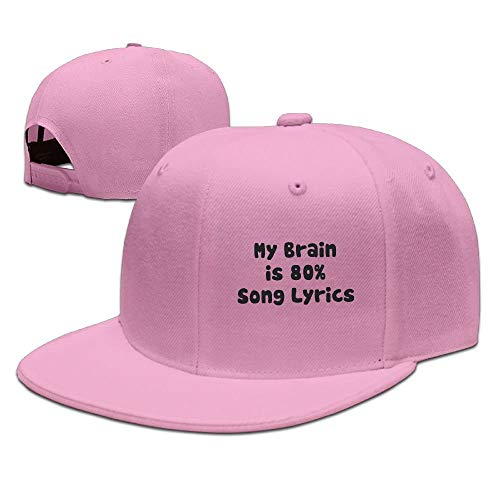 My Brain is 80% Song Lyrics Solid Flat Bill Hip Hop Snapback Baseball Cap Unisex Sunbonnet Hat.