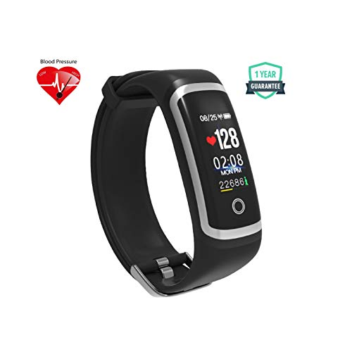WEARFIT WP116 Color Screen Smart Band with Real-time Heart Rate, Blood Pressure Monitor IP67 Waterproof Fitness Tracker (Black)