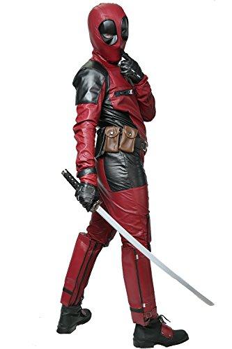 Nexthops Deadpool Kostüm Cosplay Costume Deluxe Outfit Unisex aus Leder Kostüm 5er Set Film Zubehör für Karneval, Fasching und Halloween Tops + Hosen + Handschuhe + Gürtel + Latexmaske
