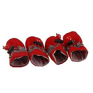 Chaussures de Chien imperméables d'hiver 4Pcs / Set Pet Rain Snow Booties Chaussettes Caoutchouc Chaussures antidérapantes pour Petits Chiens Chiots
