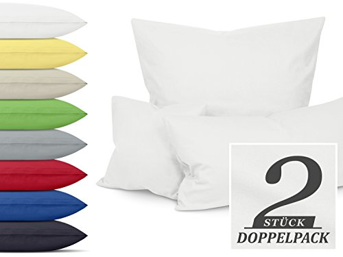1 Stück Bettbezug (Unifarbene Kissenbezüge im Doppelpack - erhältlich in 8 kräftigen Farben und 3 verschiedenen Größen - moderne Wohndekoration in dezentem Design, ca. 40 x 40 cm, weiß)