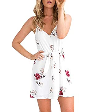 SKY Celebrate for the Summer !!!Mujeres Arnés floral fresca pequeña vestido estampado impreso Mini Dress Camisole...