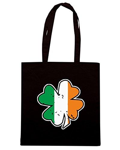 T-Shirtshock - Borsa Shopping TIR0217 vintage irish shamrock black tshirt Nero