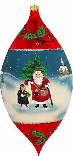 Joy to the World Metzler Brothers Father Frost Santa Drop Polish Glass Christmas Tree Ornament -