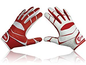 Cutters Receiver X40 Yinyan American Football Gloves Red Rot, Weiss Size:XL