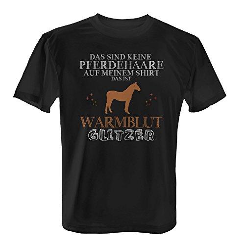 Fashionalarm Herren T-Shirt - Das sind keine Pferdehaare - Warmblut Glitzer | Fun Shirt Spruch lustige Geschenk Idee Rasse Pferd Reiten Reitsport, Farbe:schwarz;Größe:XL -