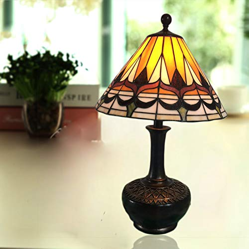 Qualität Tiffany Stil Tischlampe, 15 Zoll Glasmalerei Tisch Schreibtisch neben Lampe kreative Vase Base Design Wohnzimmer Beleuchtung Schlafzimmer Nachttischlampe, E27 Aktualisierung - Tiffany-glas-vase