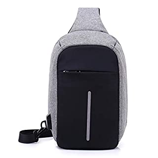 ASDFG Boys Women Girl Teens Canvas College Student Fashion Sports Sling Bag USB Charging Port Bike Crossbody Chest Shoulder Bags Waterproof 31 * 18 * 10Cm,Gray