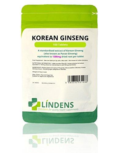 Lindens Koreanischer Ginseng Max (Panax) 1300 mg Tabletten | 100 Verpackung | Eine Tablette am Tag. Standardisierter Extrakt für garantierte Qualität (Ginseng Unternehmen)