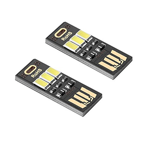 SIENOC 2x USB-Nachtlicht-Taschen-Karten-Lampe 3 LED USB-Anschluss Mini Weiß Licht Tragbar