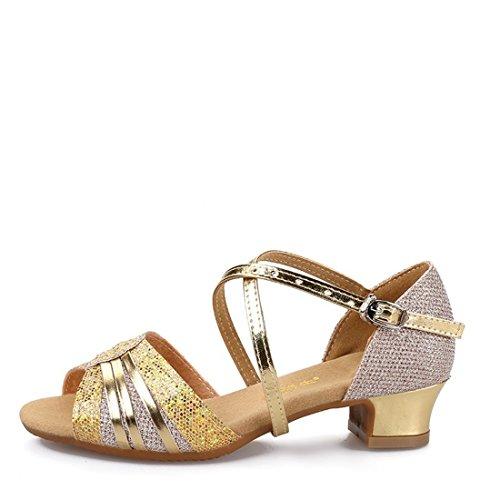 Wxmddn Ladies'scarpe balletti scarpe danza scarpe tango ginnastica danza jazz scarpe danza allenatori scarpe pratica performance Dance scarpe per ragazze donne Oro coperto