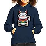 Photo de Cloud City 7 Maneki Neko Lucky Cat Pixel Art Kid's Hooded Sweatshirt par Cloud City 7