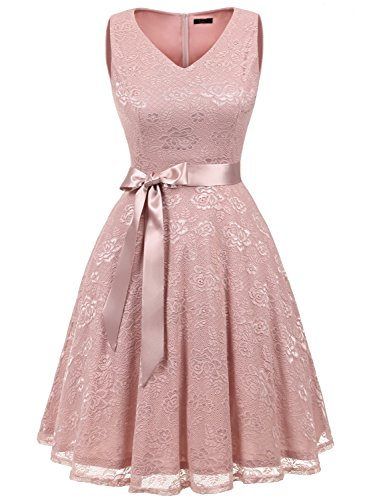 IVNIS RS90025 Damen Ärmellos Vintage Spitzen Abendkleider Cocktail Party Floral Kleid Blush2 L
