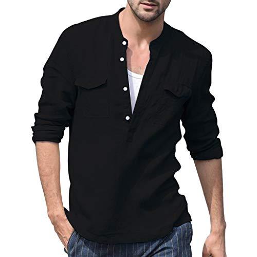 T-Shirt Herren Baggy Baumwolle Leinen Tasche Solide Langarm Retro Atmungsaktive Tops Bluse Ausschnitt Basic Business Hemd Schwarz Shirt