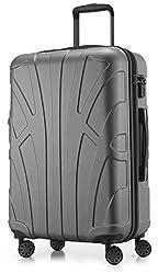 Suitline Hartschalen-Koffer Koffer Trolley Rollkoffer Reisekoffer, TSA, 66 cm, ca. 58 Liter, 100% ABS Matt, Silber