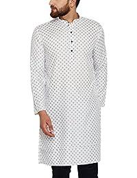 Sojanya (Since 1958) Men's Cotton Linen PRINTED Long Kurta