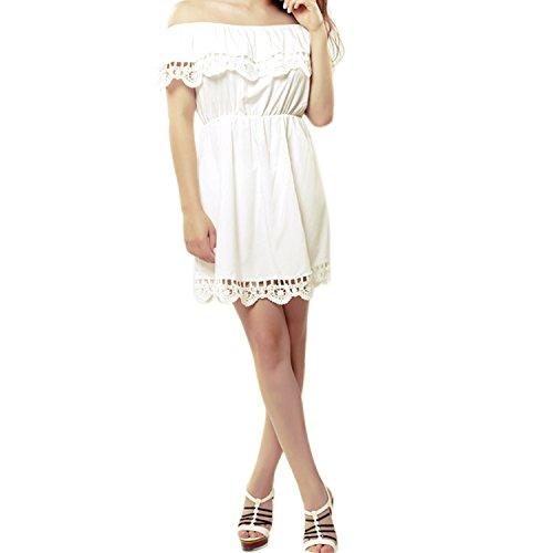 LAEMILIA Femme Robe Mini Manches Courtes Dentelle Epaule Nue élastique Mince Casual Sexy Slim Robe Plage Blanc
