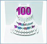 Forever Handmade Pop Up Karte zum 100. Geburtstag - eine hochwertige und originelle Geburtstagskarte, Glückwunschkarte oder Einladungskarte, auch Geschenkgutschein oder Geldgeschenk. GP053