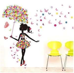 Mode fille moderne papillon autocollant mural creative stickers floral fresque murale enfant - Fresque murale chambre fille ...