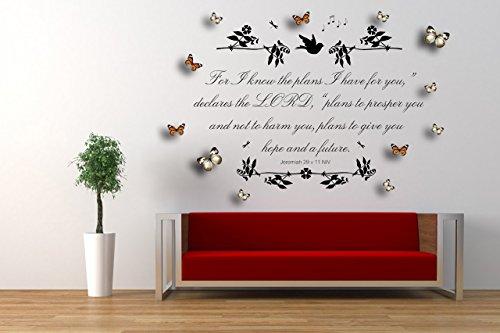 Jeremiah 29 v 11, NIV christliche Bibel zitieren, Vinyl Wandkunst Aufkleber, Wandbild, Aufkleber, mit grau/weiß und orange 3D Schmetterlinge. Zuhause, Kirche, Schule Dekor