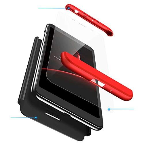 FHXD Kompatibel mit Xiaomi Redmi 6A Hülle Stoßfest 360° Schutzhülle Schutz Case Cover Ultra Dünn Anti-Kratzen 3 in 1 Handyhülle MEHRWEG-Rot Schwarz